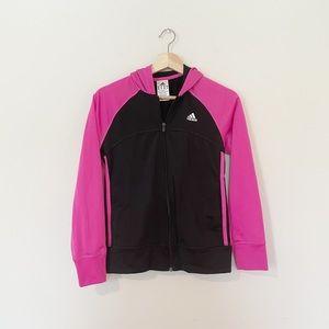 Adidas • Girl's Black & Pink Hooded Zip Up